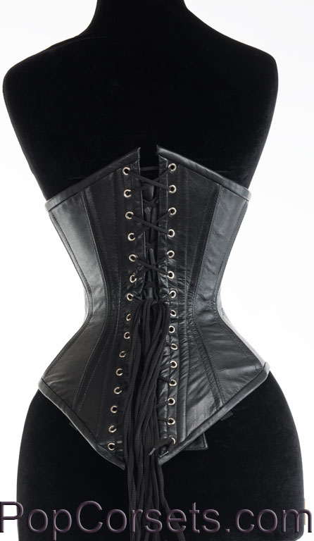 Black Faux Leather Officer Corset