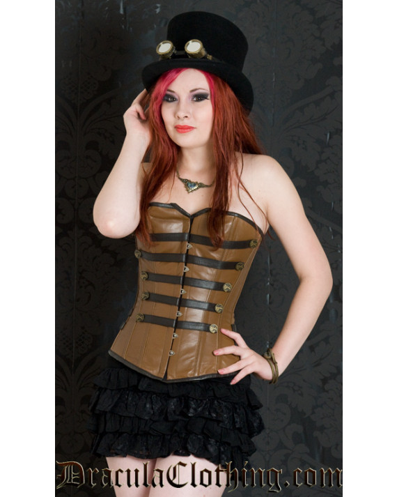 Leather Steampunk Military Corset, size 22
