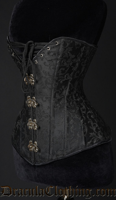 Black Brocade Cleavage Clasp Corset