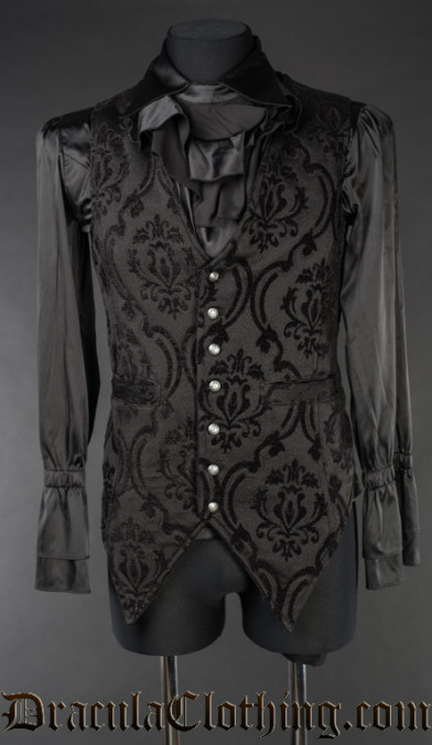 Black Brocade Long Vest