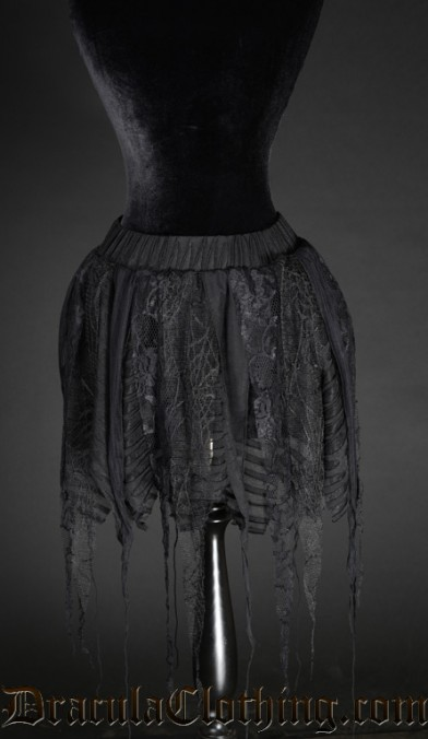 Black Pointed Lace Skirt