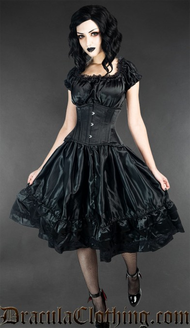 Black Satin Gothabilly Dress