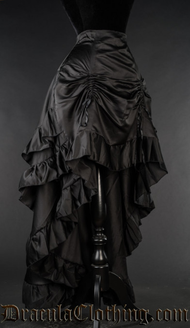 Black Satin Layer Bustle Skirt