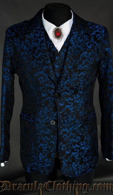 Blue Brocade Suit Jacket