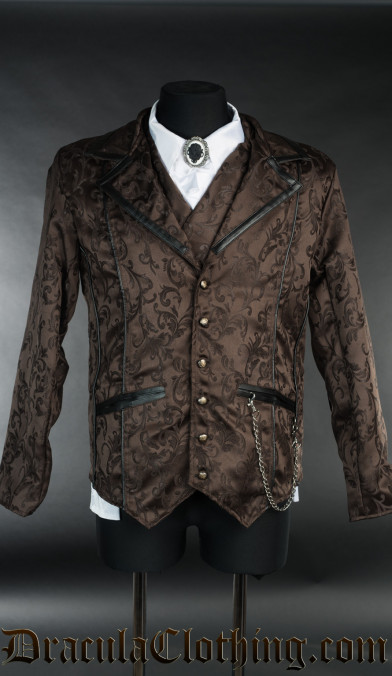 Brown Brocade Tesla Jacket
