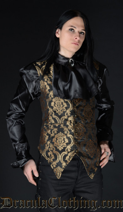 Gold Brocade Long Vest