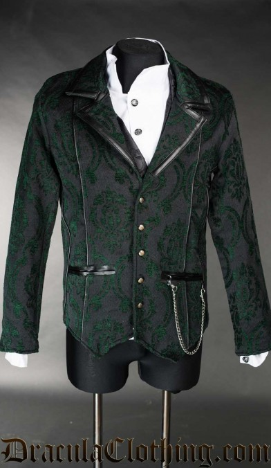 Green Brocade Tesla Jacket