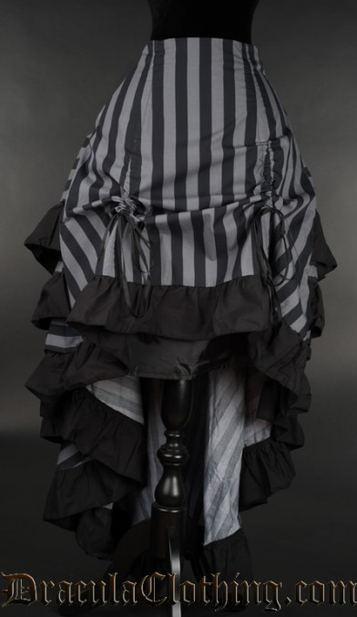 Grey Striped Layer Bustle Skirt