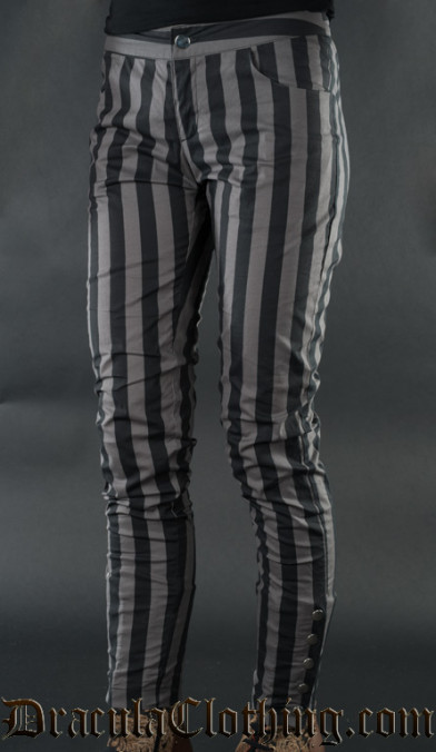 Grey Striped Five Button Pants