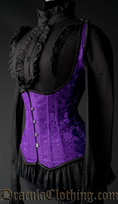 Purple Brocade Shoulder Q Corset