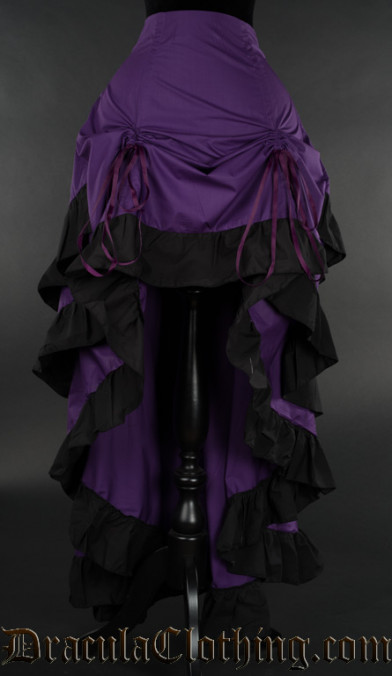 Purple Cotton Layer Bustle Skirt