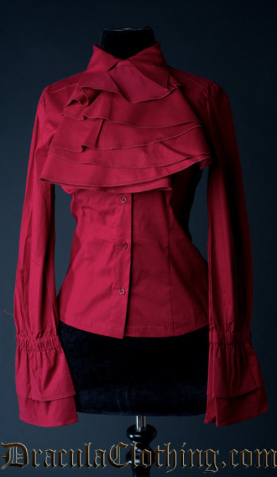 Red Cotton Elegant Cravat Blouse