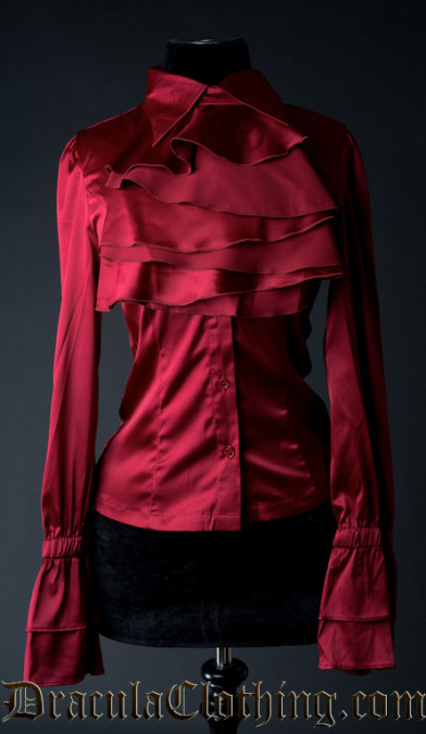 Red Satin Elegant Cravat Blouse