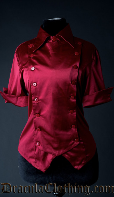 Red Satin Panel Cravat Blouse