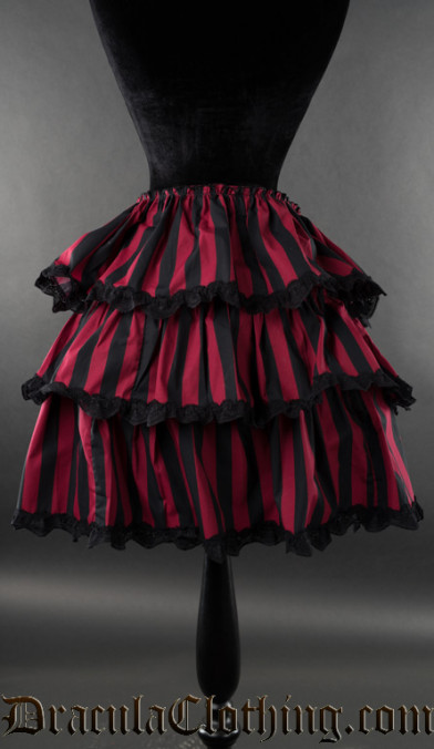 Black And Red Striped Overskirt
