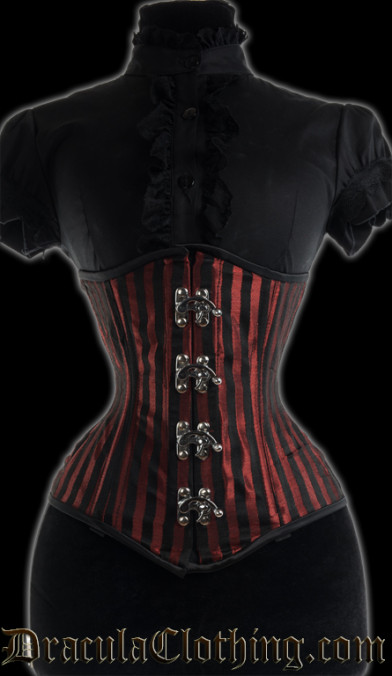 Red Striped Extreme Waist Clasp Corset