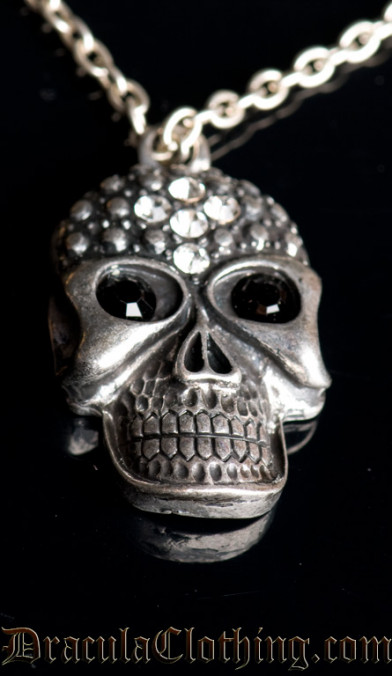 Rhinestone Skull Necklace