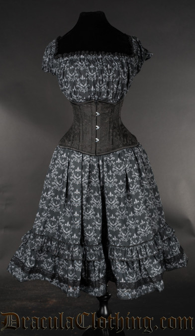 Skull Brocade Gothabilly Dress