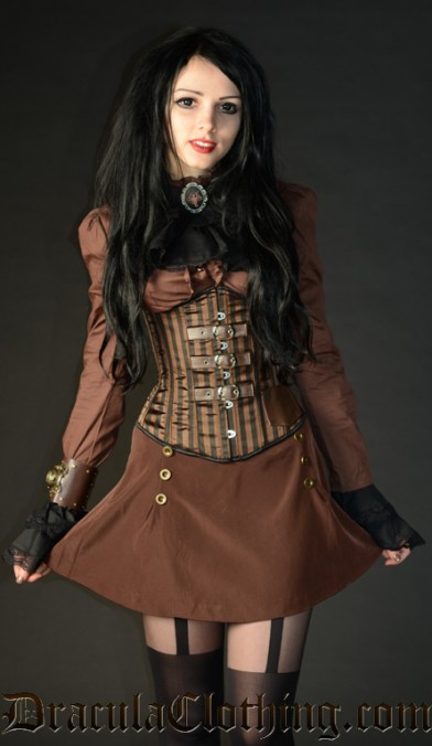Steampunk Striped Buckle Corset