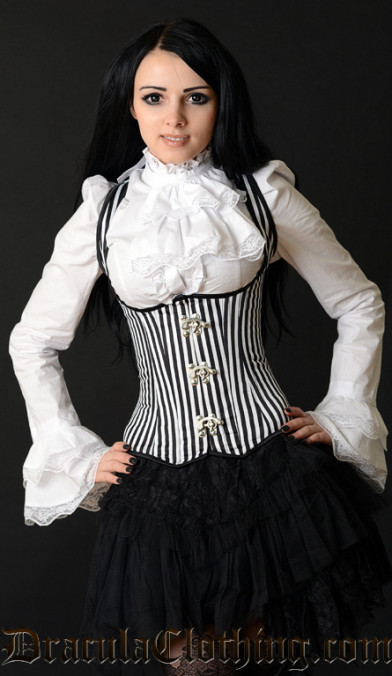 Striped Shoulder Clasp Corset