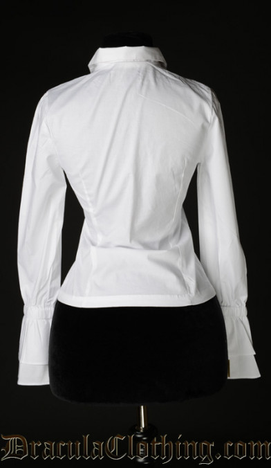 White Cotton Elegant Cravat Blouse