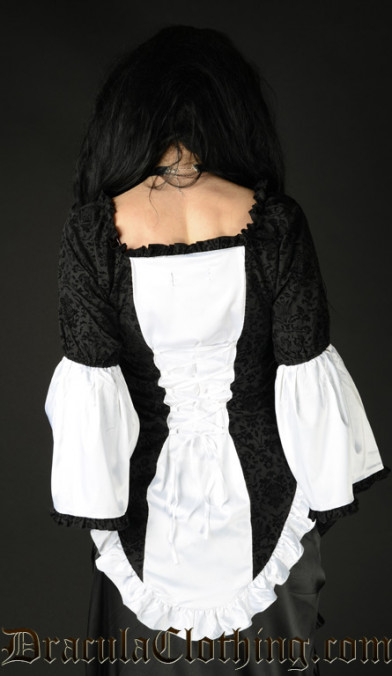 White Satin Brocade Blouse