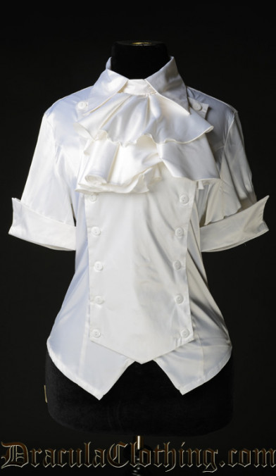 White Satin Panel Cravat Blouse