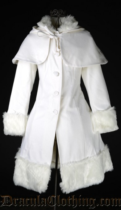 Thick White Winter Wool Coat