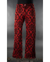 Red Jacquard Boots Pants