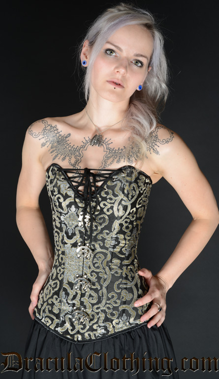 Gold Brocade Cleavage Clasp Corset
