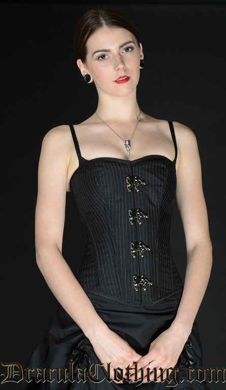 Pinstripe Clasp Overbust Corset