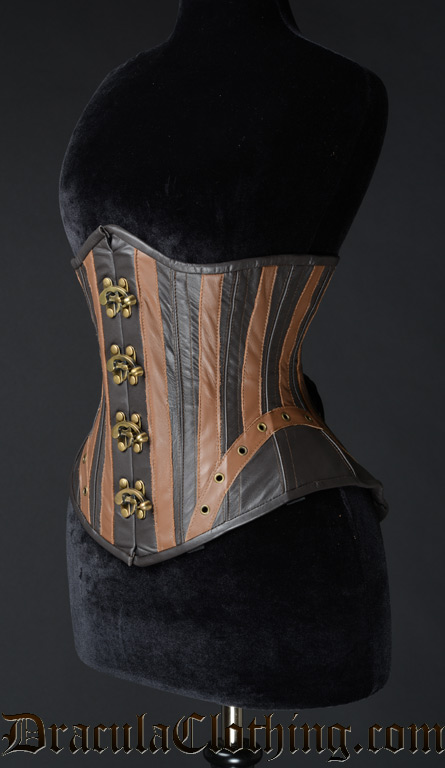 STEAMPUNK LEATHER CLASP CORSET