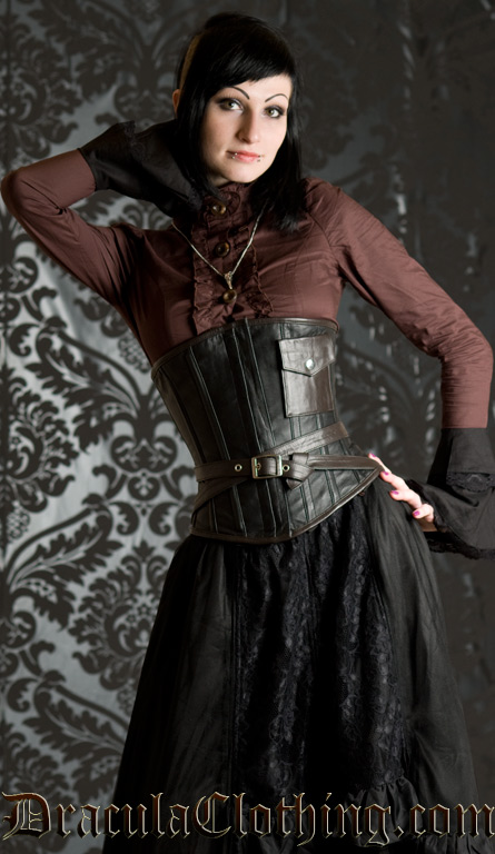 Real Leather Steampunk Pocket Corset